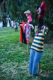Scary Scarecrows. In Sleepy Hallow, NY the children embrace Halloween by making scary scarecrows placed throughout historic areas of the town Royalty Free Stock Photography