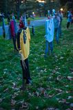 Scary Scarecrows. In Sleepy Hallow, NY the children embrace Halloween by making scary scarecrows placed throughout historic areas of the town Stock Photos