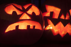 Scary and scary carved halloween pumpkins Royalty Free Stock Photography