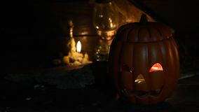 Halloween scene. Scary scene for Halloween with pumpkin stock footage