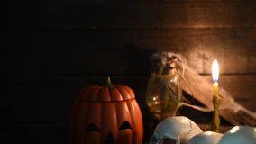 Halloween scene. Scary scene for Halloween with skull and pumpkin stock footage