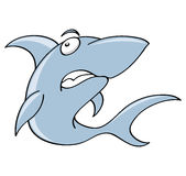 Scary shark. A cute shark cartoon illustration on white background stock illustration