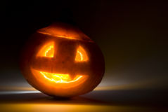 Scary shining pumpkin halloween Stock Photo