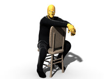 Scary or sinister man on chair. 3d illustration of scary or sinister man in black clothes with yellow face and hands leaning over back of chair, isolated on Royalty Free Stock Images