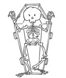 Scary skeleton in coffin in cartoon style. Halloween character. Coloring page vector illustration