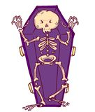 Scary skeleton in coffin in cartoon style. Halloween character. royalty free illustration