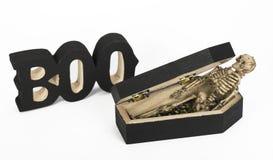 Scary Skeleton in Coffin Stock Photo