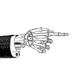 Scary skeleton hand pointing, hand-drawn sketch, black and white, isolated on white. Vector illustration, eps10. Royalty Free Stock Photos