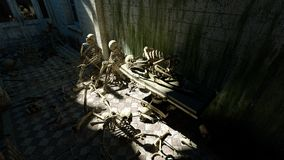 Scary skeletons in old hospital, morgue. Apocalypse horror concept. 3d rendering. Scary skeletons in old hospital, morgue. Apocalypse horror concept. 3d Stock Photography