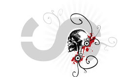Scary skull illustration. A scary black and white skull illustration with artistic designs on a white background, suitable for Halloween themes Royalty Free Stock Images
