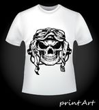 Print skull pilot on a T-shirt. Scary skull pilot - creative print for men`s T-shirt. A collection of stylish things Royalty Free Stock Photo