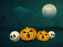 Scary skull and pumpkin for Halloween Party celebration. Stock Photo