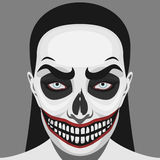Scary Skull Woman with Halloween Makeup Stock Image