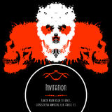 Scary Skulls Invitation or Postcard for Halloween Stock Photo