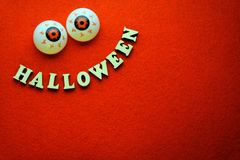 Photo for helloween party on the red background. stock image