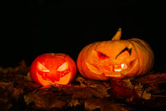 Scary smiling Halloween pumpkin Stock Images