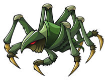 Scary spider. Terrible spider with claws and sting, vector illustration Stock Photos
