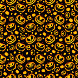 Scary and Spooky Halloween Pumpkin Seamless Halloween Pattern. Isolated Vector Yellow Orange Festive Scary and Spooky Halloween Pumpkin on Black Background Stock Image