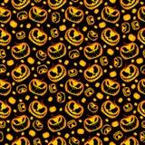 Scary and Spooky Halloween Pumpkin Seamless Halloween Pattern vector illustration