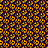 Scary and Spooky Halloween Pumpkin Seamless Halloween Pattern. Isolated Vector Yellow Orange Festive Scary and Spooky Halloween Pumpkin on Purple Background Stock Image