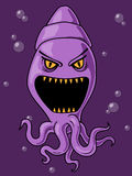 Scary Squid Cartoon Stock Photo