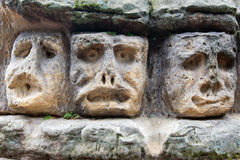 Scary Stone Heads Royalty Free Stock Photo
