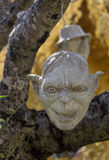 Scary Stone - rock sculptures of giant heads carved into the sandstone cliff Royalty Free Stock Image