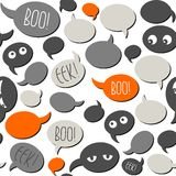 Scary talk bubbles on white halloween pattern Royalty Free Stock Images