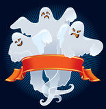 Scary team. Halloween team of scary ghosts with red banner Royalty Free Stock Photo