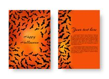 Funny leaflet with bats for Halloween. Scary template brochure with bats for festive Halloween design on the orange backdrop. Vector illustration Royalty Free Stock Image