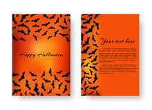 Funny notepad with bats for Halloween. Scary template design flyers with bats for festive decoration for Halloween on the orange backdrop. Vector illustration Royalty Free Stock Photography