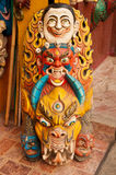 Scary tibetan masks. Scary Tibetan mask of demons in display in Darjeeling, India. These masks are believed to fight evil spirits and bring good luck stock photos