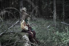 Scarecrow sitting alone on a tree trunk stock images