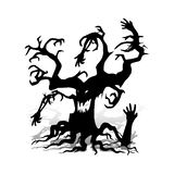 Scary tree without leaves, design for the holiday of Halloween, royalty free illustration