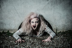 A scary undead zombie girl. A bloody scary undead zombie girl Stock Photography