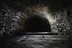 Scary underground, old castle cellar royalty free stock photography