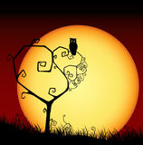 Scary valentine card with tree and sunset. Valentine background with tree, owl and sunset stock illustration