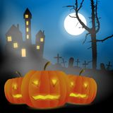 Scary vector haloween landscape with haunted house, graveyard and carved pumpkins in full moon. Scary vector haloween landscape with haunted house, graveyard vector illustration