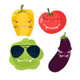 Scary vegetables. Cabbage in glasses, horrible pepper, ferocious Stock Image