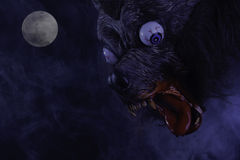 Scary Werewolf During Full Moon Royalty Free Stock Photos