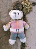Scary white teddy bear. Outside ground royalty free stock photo
