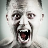 Vampire Face. Scary and wild vampire man with red eyes and teeth Royalty Free Stock Photo