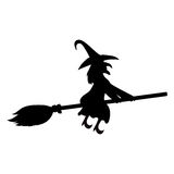 Scary witch flying Stock Photo
