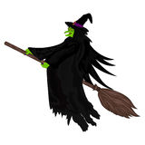 Scary witch flying on a broom. Scary witch witch flying on a broom on Halloween vector Royalty Free Stock Photo