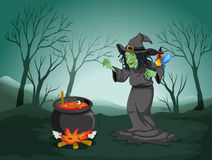 A scary witch at the forest with a pot and a bird royalty free illustration
