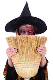 The scary witch in halloween concept Stock Photo