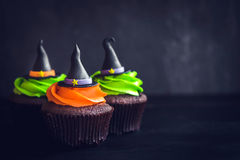 Witch hat cupcakes Stock Photography
