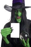 Scary witch with her crystal ball. Scary witch with her crystal ball and space for text, isolated on white Stock Image