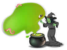 A scary witch with a magical pot Royalty Free Stock Photo