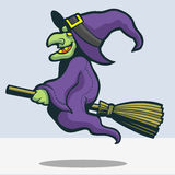 Scary witch riding broomstick cartoon stock images